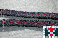 A simple tablet woven pattern turning 4 forwards and 4 backwards.