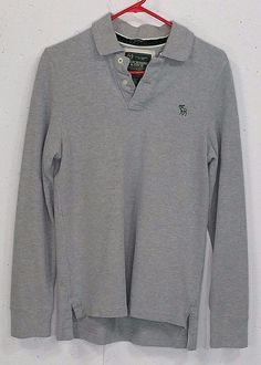 A&F Abercrombie Muscle Mens Grey Pique 100% Cotton Long Sleeve Polo Shirt Small #AbercrombieFitch #PoloRugby