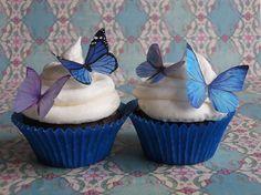 Edible Wafer Butterflies - Blue & Purple by Miss Cupcake Canada, via Flickr