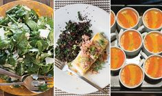 Inspired by chef Jeffrey Jew's Florida dinner party from our May issue, we've created a menu of bright, fresh dishes perfect for a laid back meal taken outdoors. Pass around pitchers of herbaceous, vodka-spiked lemonade, then enjoy pan-seared grouper with crab and a bright orange reduction alongside quinoa and a baby kale salad with lemon and parmesan. Individual ramekins of lemon posset, a creamy, chilled English dessert, are a perfect finish.