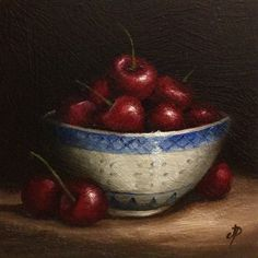 Bowl of Cherries Original Oil Painting still life by JanePalmerArt