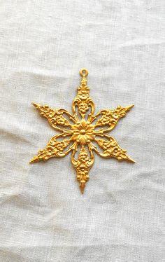 1 medium raw brass ornate, openwork, filigree snowflake, flower head, star, sun, pendant, connector, brass stamping, 49mm,  USA made C0401
