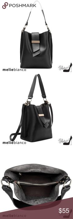 b0c9f559b0f3 Melie Bianco: Alessia Bag - Luxury Vegan Leather Black Luxury Vegan Leather  Designer Bag -