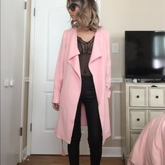 Blush pink trench peacoat Beautiful pink coat, optional belt, Drape neck like, faux side pockets, pairs well with heels or sneakers! It's slightly too big on my arms (I'm usually a petite xs) 60% Cotton 40% Rayon S.I.L.K. Jackets & Coats Pea Coats