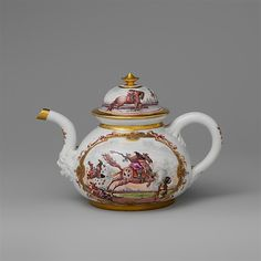 #Meissen Teapot With Equestrian Scene -- 1722 -- German -- Porcelain -- Metropolitan Museum of Art