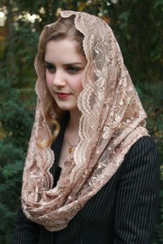 Evintage Veils~ Our Lady Copper Taupe Embroidered Lace Chapel Veil Mantilla Latin Mass Infinity Veil Catholic Veil, Mantilla Veil, Chapel Veil, Beautiful Muslim Women, Pakistani Girl, Our Lady, Embroidered Lace, Indian Beauty, Veils