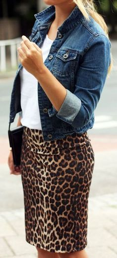 Denim and leopard: a perfect pair.