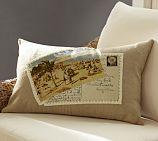 Beach Umbrella Postcard Applique Lumbar Pillow Cover