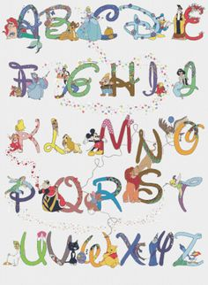 Counted Cross Stitch Patterns  Alphabet Disney characters