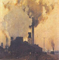 Eugen Bracht (1842-1921). Eisen- und Stahlwerk Hoesch, Dortmund, 1907. Oil on Canvas. 137 x 136 cm. (Iron and Steel Mill).