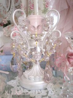 Pink Crystal & Pearl Candle holder