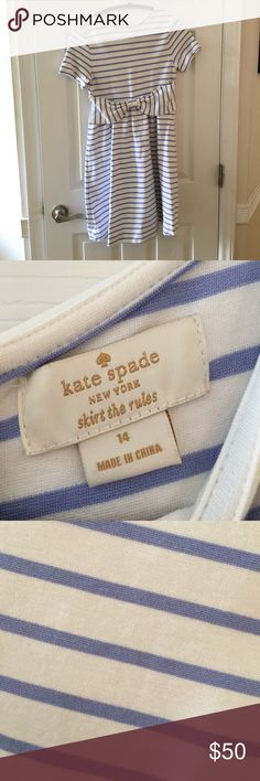 Kids Kate Spade periwinkle striped dress Kids size 14 Kate Spade bow dress. Periwinkle stripes kate spade Dresses