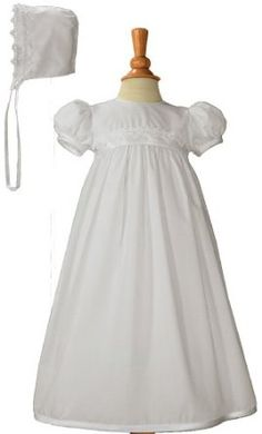 White Polycotton Christening Baptism Gown with Lace Trim & Bonnet - 12 Month Little Things Mean A Lot. $45.95