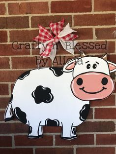 Cow Door Hanger Made to Order Painted Pumpkins, Painted Rocks, Hand Painted, Wooden Doors, Wooden Signs, Door Hanger Printing, Door Decks, Wooden Wreaths, Burlap Door Hangers
