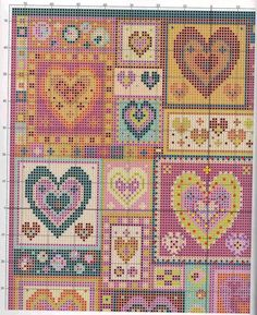 PATCHWORK CROSS STITCH HEARTS