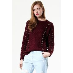 Storets Studded Heart Cable Knit Sweater (570 NOK) ❤ liked on Polyvore featuring tops, sweaters, heart sweater, cable knit sweater, heart tops, chunky cable knit sweater and studded sweater