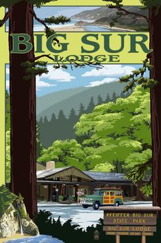 Big Sur Lodge, California - Lantern Press ArtworkQuality Poster Prints Printed in the USA on heavy stock paper Crisp vibrant color image that is resistant to fading Standard size print, ready for framing Perfect for your home, office, or a gift Chico California, California Travel, Silky Terrier, Big Sur State Park, State Parks, American Pit, Golden Retrievers, Tarzan, Shih Tzu