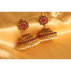 Buy Latest collecton of Dreamjwell Products Online ✯ authentic products, ✯ Hand curated, ✯ Timely delivery, ✯ Craftsvilla assured Gold Jhumka Earrings, Jewelry Design Earrings, Gold Earrings Designs, Gold Jewellery Design, Antique Earrings, Silver Jewellery, Pearl Jewelry, Gold Necklace, Antique Jewellery Designs