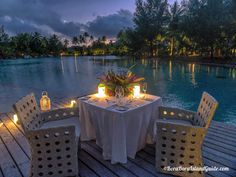 St Regis Bora Bora spa beach location for a romantic dinner for two. Romantic Dinner Tables, Romantic Dinner Setting, Romantic Dinners, Night Aesthetic, Beach Aesthetic, Bora Bora Activities, Christmas Stairs Decorations, At Home Date Nights, Stair Decor
