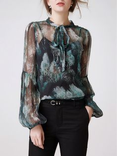 Shop Blouses - Multicolor Long Sleeve Silk Mesh Stand Collar Blouse online…