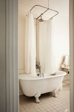 find this pin and more on my personal style centered shower curtain rod for original claw foot tub