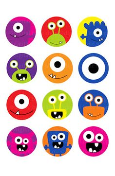 monsters 1 inch circles bottle cap images by PaperiePixel on Etsy Little Monster Party, Monster Birthday Parties, Monster Clipart, Bottle Cap Magnets, Monster Cupcakes, Birthday Clipart, Doodle Icon, Digital Scrapbooking Layouts, Cute Animal Drawings