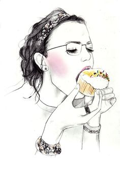 Sarah Hankinson...eat a cupcake! #illustration #painting #drawing