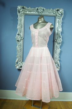 1950s sheer pink dress 50s pink party dress size by melsvanity, $98.00