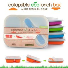 I use these eco-friendly silicone lunch boxes to pack my meals on the go. Everything fits in one divided container (One large, & 2 small cups) with a handy double spoon/fork inside the lid. Plus, it's collapsible for minimizing container storage!
