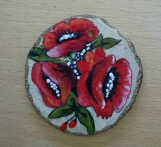 Poppies on wood 💖💟 Handmade by me #anarodet