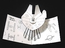 pop up milennium falcon card for geeky offspring and friends This website has printable sheets and step by step instructions