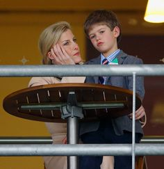 Sophie, Countess of Wessex and James, Viscount Severn watch the racing as they attend the Christmas Racing Weekend at Ascot Racecourse on December 19, 2015 in Ascot, England.