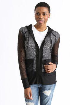 Gottex Honeycomb Mesh Zip Up Jacket in BLACK