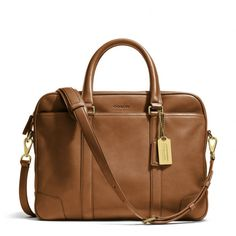 Coach Briefcase - Bleecker Slim Brief In Brass/Fawn Leather $498