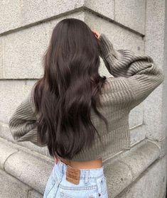 Dark Brunette Hair, Brown Blonde Hair, Hair Styles Brunette, Types Of Brown Hair, Brunette Hair Colors, Dark Brown Long Hair, Soft Black Hair, Natural Brown Hair, New Hair