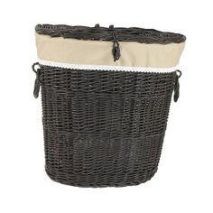 Wiklinowy kosz na pranie wenge z obszyciem - wzór cappuccino z koronką