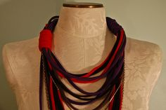 T-Shirt Necklace by Stacie Stacie Stacie, via Flickr - I'm thinking the individual strands would be nice as singles for holding pendants - and pretty much free. Plus they stretch so they could just go over your head.