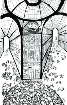 Illustration by Saul Steinberg of The Ring Dome in Milan at Galleria Vittorio Emanuele by Minsuk Cho/Mass Studies
