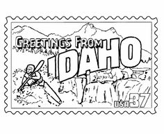 Idaho State Stamp Coloring Page