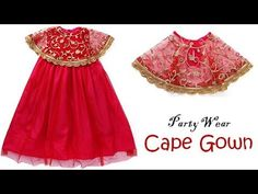 DIY Designer Beautiful Cape Gown Cutting And Stitching Full Tutorial Baby Girl Frocks, Frocks For Girls, Dresses Kids Girl, Kids Outfits, Baby Dresses, Summer Dresses, Girls Frock Design, Baby Dress Design, Kids Dress Wear