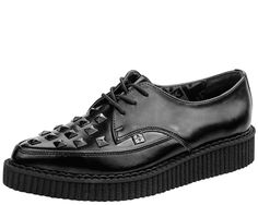 A8833 - BLACK STUDDED POINTED CREEPERS | #TUKSHOES