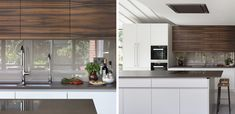 A classic country style kitchen has been extended and remodelled to create a super contemporary glass house effect Town House, Walnut Veneer, Glass Kitchen, West London, Glass House, Clean Lines, Country Style, Simple Designs, Kitchen Design