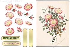Dog Rose Decoupage on Craftsuprint designed by Elizas Emporium - A beautiful old fashioned dog rose to decoupage with tags. Just for you and birthday wishes plus 2 blank - Now available for download!