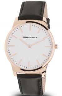 TOM CARTER Cruise 40mm Rose Gold Black Leather Strap TOM602L001R