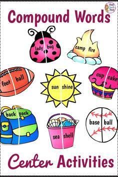 Center activities and worksheets to teach compound words.