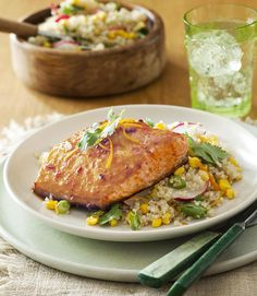 This Chipotle Orange Glazed Salmon uses canned chipotle chiles for a smokey kick. #protein #wholegrain #myplate