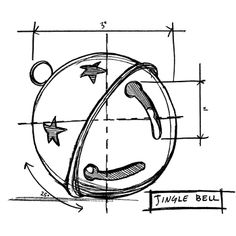 Tim Holtz Rubber Stamp 2014 JINGLE BELL SKETCH Stampers Anonymous P1-2419