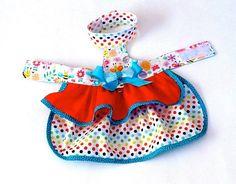 polka dots dog dress XS dog dress pet by CreationsAnneClaude My Little Girl, Little Dogs, Dog Dresses, Dog Coats, Pet Clothes, Dress Backs, Grosgrain, Your Pet, Cotton Fabric