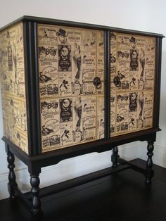 great piece with wallpaper or other paper. #upcycled Upcycled Furniture, Decoupage Furniture,