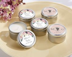 Personalized English Garden Travel Candle (Kate Aspen 20155NA)   Buy at Wedding Favors Unlimited (https://www.weddingfavorsunlimited.com/personalized_english_garden_travel_candle.html).
